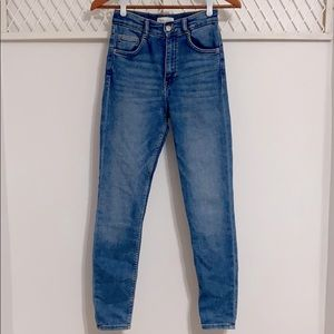 ZARA High Waisted Skinny Denim Jeans Blue